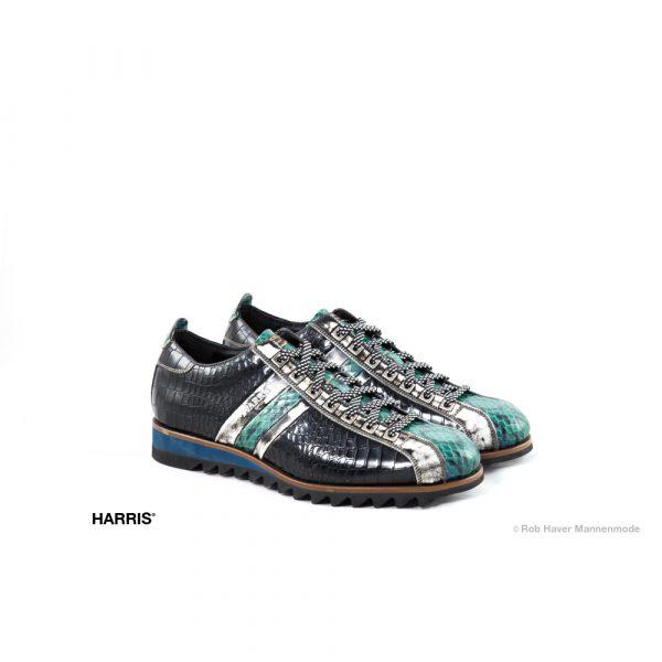 Harris zwarte groene rund/slang lederen schoen