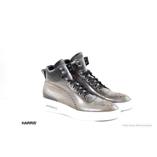 Harris grijze hoge rundleren schoen met witte zool
