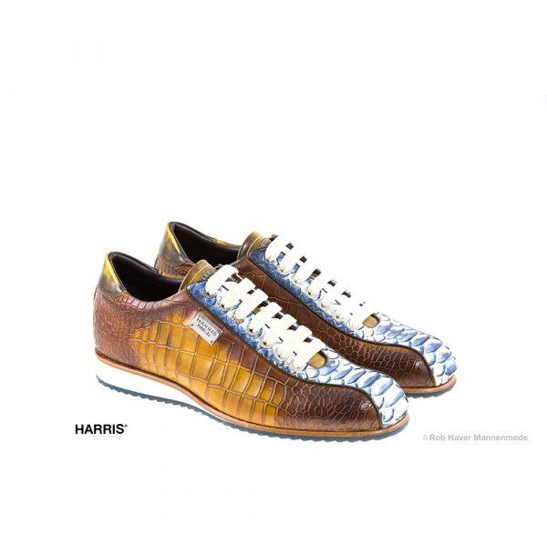 Harris, rundleren/slangenleren, bruin witte schoen