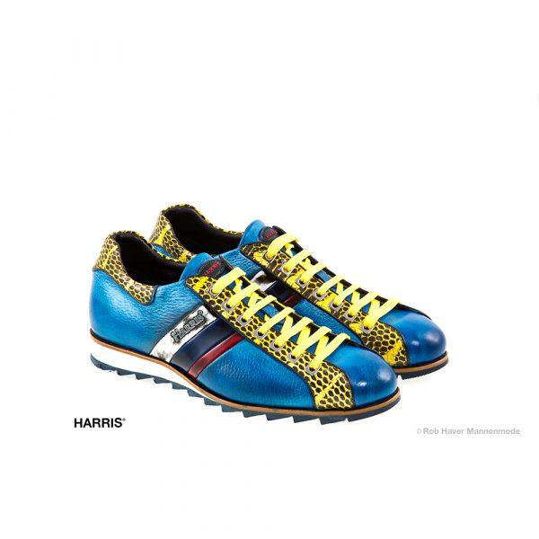 Harris, rundleren blauw, geel schoen