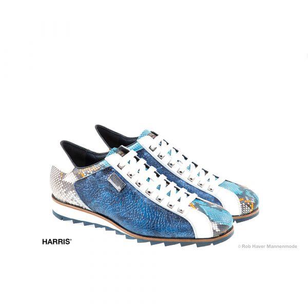 Harris, rundleren/slangenleren blauw, witte schoen